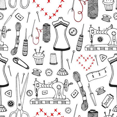 craft supplies: Needlework and sewing equipment seamless pattern. Vector hand drawn craft supplies print.