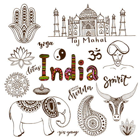 india culture: Doodle hand drawn collection of India icons. India culture elements for design. Vector travel set. Handwriting India lettering Illustration