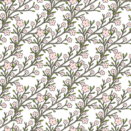 the womanly: Vector cherry flowers seamless pattern. For fabric textile or package design.