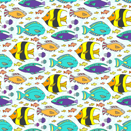 color swatch book: Vector doodle fishes pattern. Hand drawn marine seamless texture. Fabric swatch or kids textile.