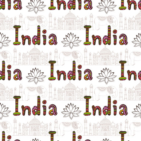 india culture: India seamless pattern with Taj Mahal and culture elements. Vector travel background. Handwriting India lettering Illustration
