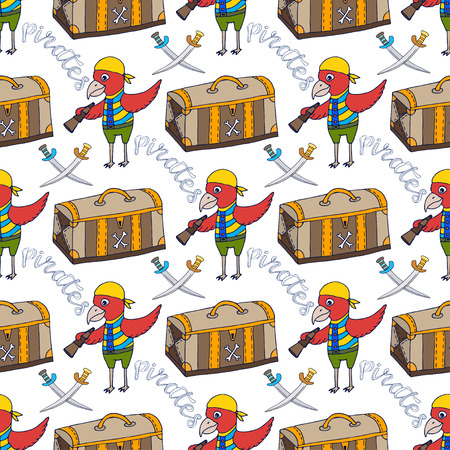 carribean: Parrot doodle seamless pattern background with pirate chest. Childish print.
