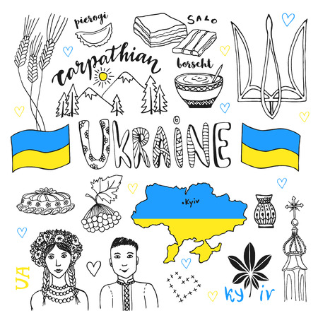 borscht: Vector hand drawn line art set of Ukraine signs and people characters. Ukrainian icons collection with tradition food.