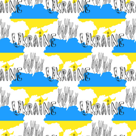 slavonic: Ukraine seamless pattern with country silhouette and doodle text. Vector illustration in national colors.