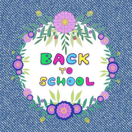 denim jeans: Back to school. Denim jeans background with floral frame decoration Illustration