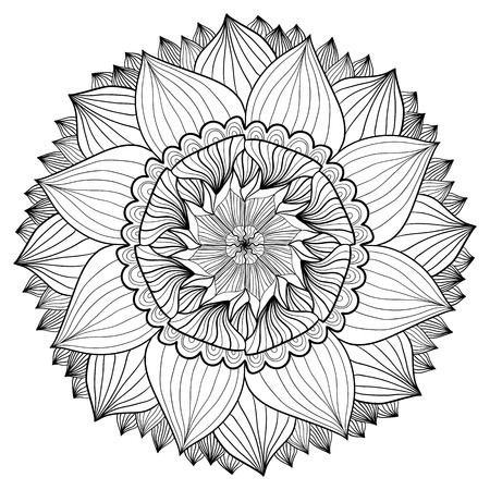 Ornamental floral mandala. Flower ornament pattern. Vector for adult coloring page or decoration.