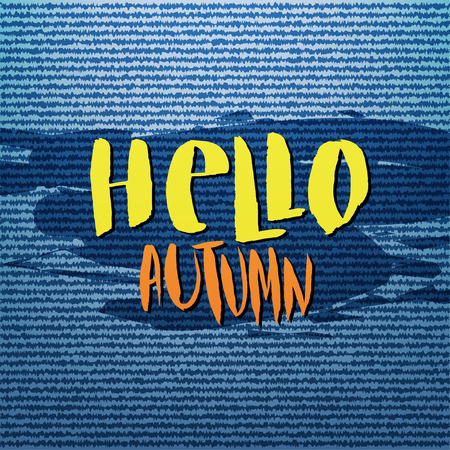 hi back: Abstract denim jeans texture background. Hello Autumn vector poster, banner, card Illustration