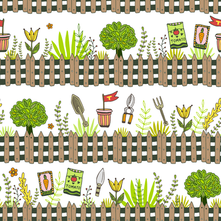 packets: Garden pattern with seed packets, tools and tree. Vector seamless pattern of gardening tool