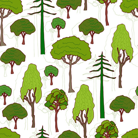 web site background: Trees pattern. Vector seamless pattern of green trees. Design for wrapping, eco packaging, web site background. Illustration