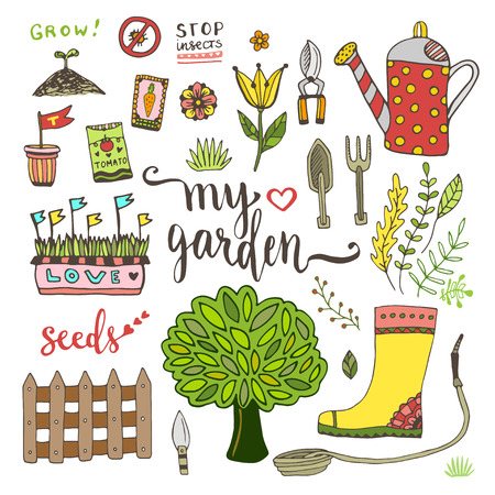 packets: Garden tools set with seed packets, tree and watering can. Vector doodle element