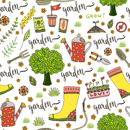 gardening tool: Garden pattern with seed packets, tools, tree and watering can. Vector seamless pattern of gardening tool Illustration