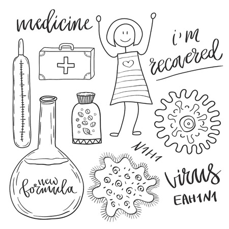 virus cell: Medicine icons set with pills and virus cell . Medical and healthcare sketch collection.