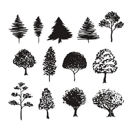 Bäume Silhouette Vektor-Dekoration. Hand gezeichnete Skizzen isoliert Satz. Standard-Bild - 61043017