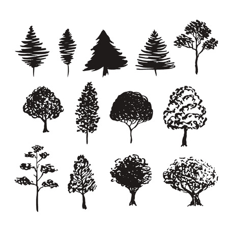 Trees silhouette vector decoration. Hand drawn sketches isolated set.