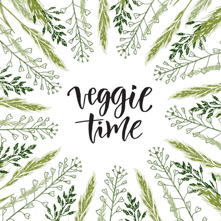 time frame: Veggie time lettering. Vector wildflowers frame with hand drawn text. Illustration