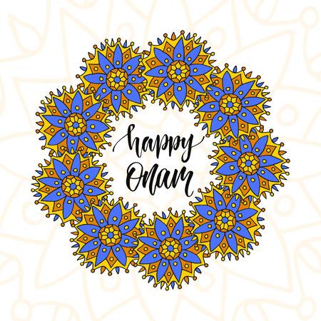 malayalam: Happy Onam vector illustration. Holiday brush modern calligraphy.