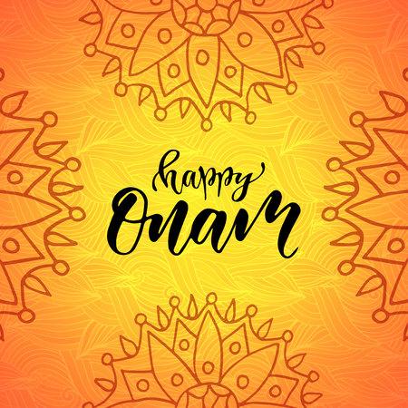 malayalam: Happy Onam Holiday vector illustration Modern calligraphy Illustration