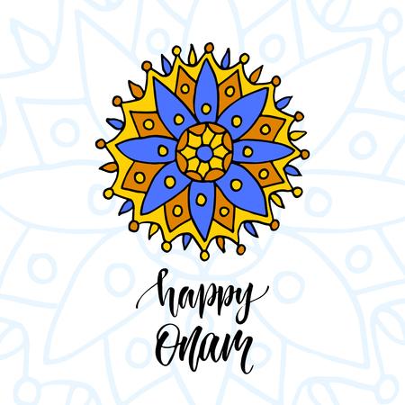 malayalam: Happy Onam vector illustration. Holiday Modern calligraphy with mandala art.