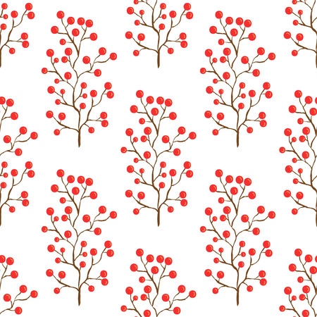 viburnum: Red berry pattern Autumn seamless background for textile Illustration