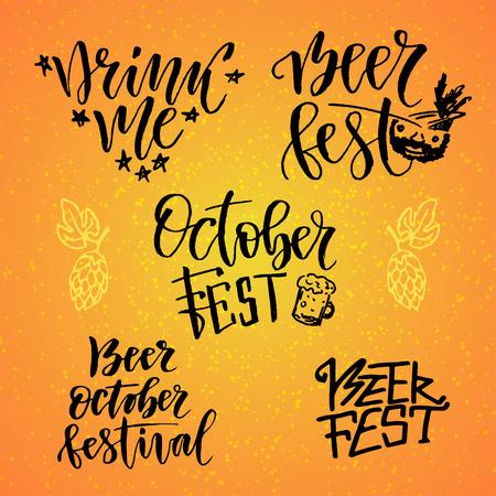 October Fest calligraphic set. Beer fest. Drink me. Handwritten lettering for holiday decoration.