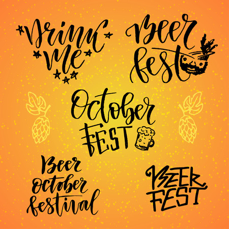 drink me: October Fest calligraphic set. Beer fest. Drink me. Handwritten lettering for holiday decoration.