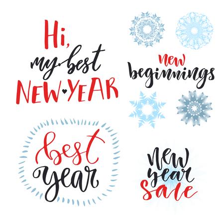 Happy New Year Calligraphic Set. Illustration With Handwriting ...