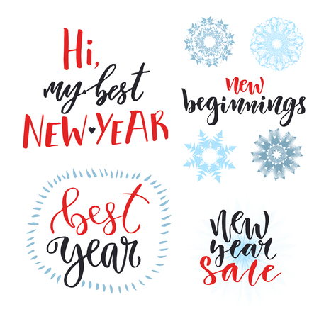 beginnings: New Year calligraphic lettering set. Vector design for greeting prints. New Year Sale. New Beginnings.