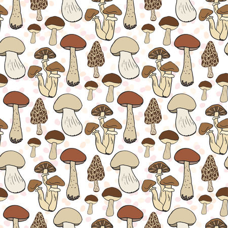 mushroom soup: Mushroom seamless pattern. Vector autumn background with edible mushrooms.