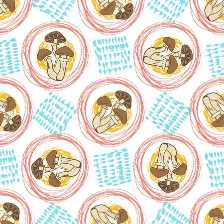 mushroom soup: Autumn seamless pattern with mushrooms and textures. Creative background. Vector for web, print, fabric, textile wrapping.