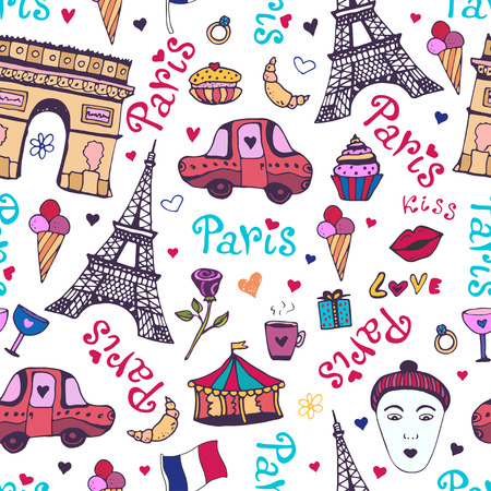 triumphal: Paris seamless pattern with eiffel tower, triumphal arch and cute doodles. Vector background for wrapping and decoration