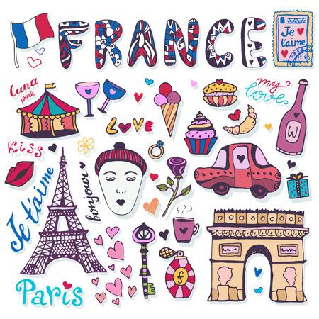 Doodles Conjunto De Francia - Torre Eiffel, Arco De Triunfo Y Otros ...