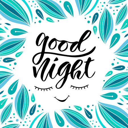 slumber: Good night. Vector card in calligraphy style. Handwritten illustration for slumber party decoration.