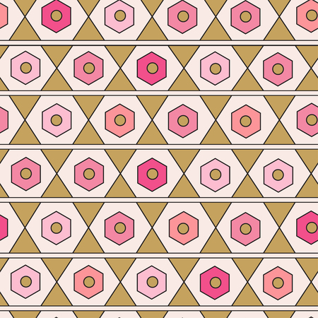 the womanly: Seamless geometric pattern. Modern texture. Repeating abstract background in pink and gold color