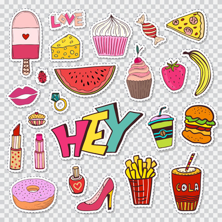 90s: Fashion patches elements with sweets food and girly elements. doodle funny badges. Modern clip art. Cartoon stickers in 80s 90s comic trendy style Illustration
