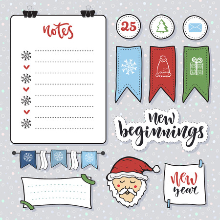 beginnings: Doodle note paper set. Messages sticky notes. Notes list and with New Year decoration and santa claus. New beginnings calligraphy