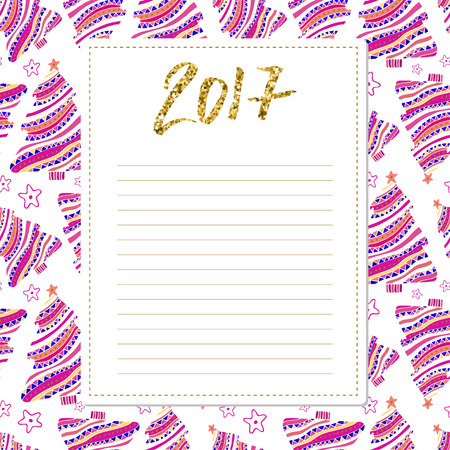 wishlist: Cards note with New Year decorations. 2017 calligraphy number. Blank for wishlist design. Template for scrapbooking and congratulation
