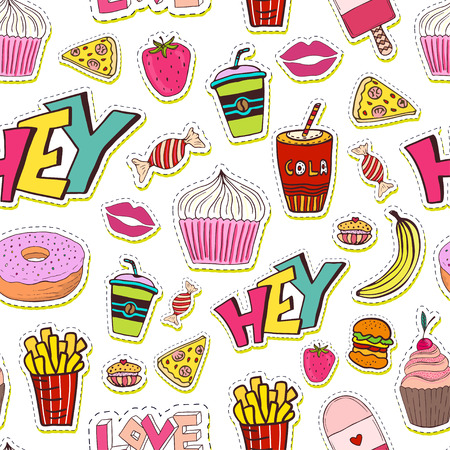 Fashion seamless pattern with patches. Cartoon background in 80s 90s comic trendy style. 일러스트