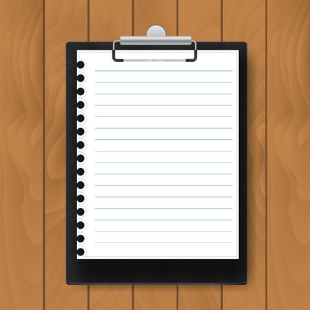 lined paper: Black Clipboard with lined paper on wood background. Mockup Vector business template Illustration