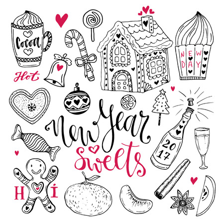 gingerbread house: New Year sweets set. Christmas hand drawn collection with cocoa, gingerbread house and champagne