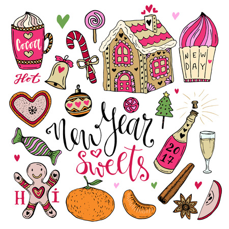 gingerbread house: Vector New Year Sweets set. Christmas hand drawn bright collection with cocoa, gingerbread house and champagne