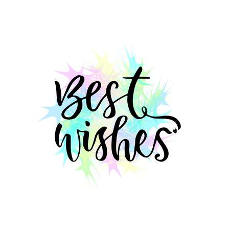 Best wishes vector greeting card with hand lettering. Modern vector calligraphy. Illustration