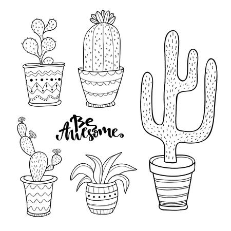 Conjunto Suculentos Y Cactus. Plantas En Macetas De Dibujos Animados ...