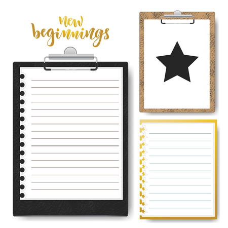 lined up: Set of Clipboard with lined paper. Vector Mock up template for business presentation
