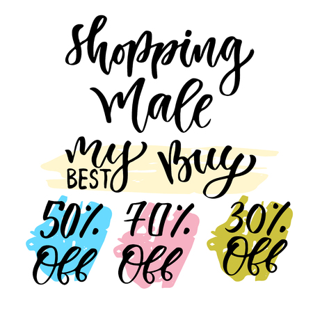 Sales calligraphy tag. Shopping decoration set. isolated elements for design. Illustration