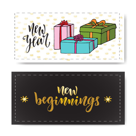beginnings: Set of hand drawn New year banners. Handwritten lettering New beginnings. design element for invitations gift decorations.
