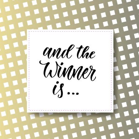 そして勝者は。ソーシャル メディアのアイコンのプレゼント バナー。近代的な手レタリング。  イラスト・ベクター素材