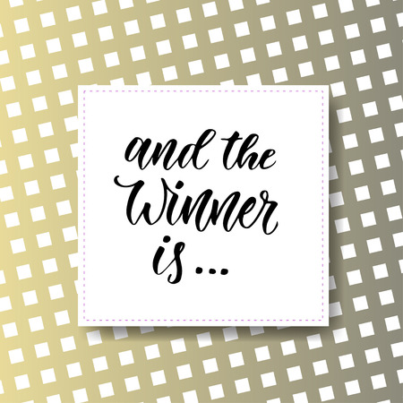 And the winner is. Giveaway banner for social media icons. modern hand lettering. 일러스트