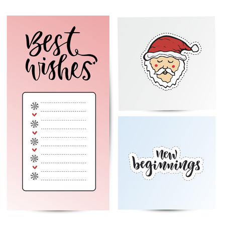 beginnings: Note paper for best wishes . New year sticky notes. New Year decoration and santa claus. New beginnings calligraphy. Illustration