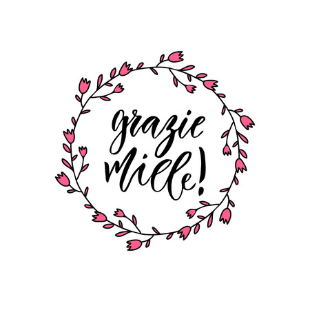 Grazie miele thank you very much in Italian. Inspirational Lettering poster or banner. Vector hand lettering Illustration