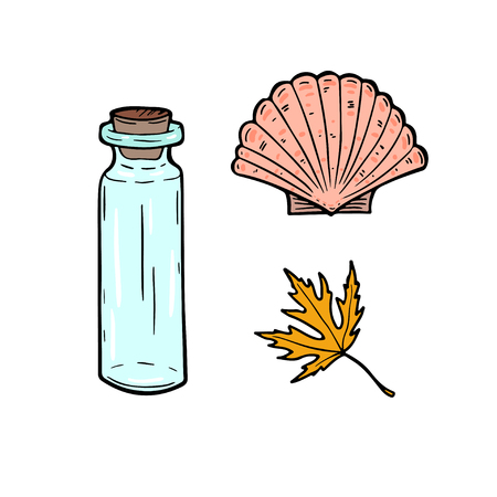 Stickers cartoon set with bottle, seashell and leaf. Vector illustration